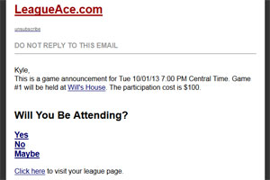 Poker League Email